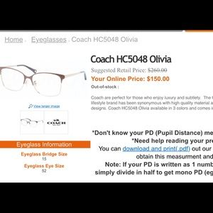 Coach Glasses (No prescription)